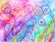 Crazy Flower Garden Print by Debbie Portwood