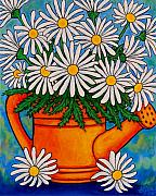Daisies Paintings - Crazy for Daisies by Lisa  Lorenz