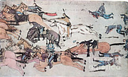 Oglala Lakota Art Prints - Crazy Horse At The Battle Of The Little Print by Photo Researchers