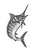 Boat Drawings Prints - Crazy Marlin Print by Carol Lynne