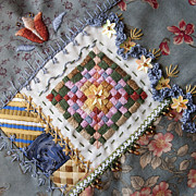 Fabric Art Tapestries - Textiles Posters - Crazy Quilt Block 4 Poster by Masha Novoselova