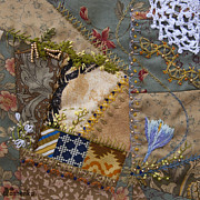 Crazy Tapestries - Textiles Posters - crazy quilt block May 2 Poster by Masha Novoselova