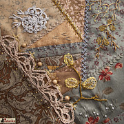 Embroidery Tapestries - Textiles - crazy quilt block May by Masha Novoselova