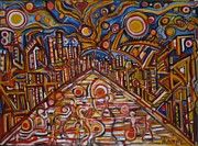 City Scape Paintings - Crazy Street by Babel Wallace