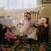 Little Girl Girl Posters - Cream and Sugar Poster by Greg Olsen