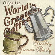Fresh Green Painting Posters - Cream Coffee 1 Poster by Debbie DeWitt