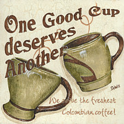 Fresh Green Painting Posters - Cream Coffee 2 Poster by Debbie DeWitt