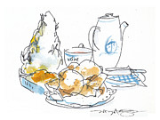 Tea Party Drawings - Cream Scones and Jam by Marilyn MacGregor