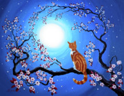 Sakura Paintings - Creamsicle Kitten in Blue Moonlight by Laura Iverson