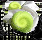 Tennis Digital Art Metal Prints - Creamy Tennis Balls Metal Print by Evguenia Men