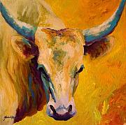 Cattle Painting Prints - Creamy Texan - Longhorn Print by Marion Rose