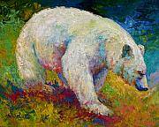 Salmon Fishing Paintings - Creamy Vanilla - Kermode Spirit Bear Of BC by Marion Rose
