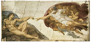 Michelangelo Painting Metal Prints - Creation of Adam Metal Print by Michelangelo Buonarroti