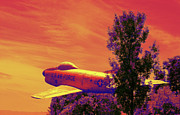 Plane Tree Photos - Creative Sunset Flight by Linda Phelps
