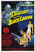 1954 Movies Prints - Creature From The Black Lagoon, Bottom Print by Everett
