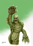 Horror Movies Painting Framed Prints - Creature From The Black Lagoon Framed Print by Bruce Lennon