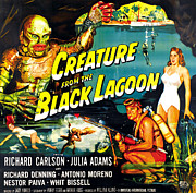 Bathing Posters - Creature From The Black Lagoon Poster by Everett