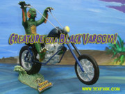 Bicycle Sculptures - CREATURE FROM THE BLACK LAGOON on a HARLEY CHOPPER by Geoff Greene