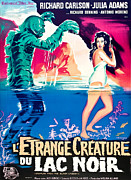 1950s Poster Art Art - Creature From The Black Lagoon, On Left by Everett