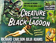 1950s Poster Art Photo Framed Prints - Creature From The Black Lagoon, Upper Framed Print by Everett