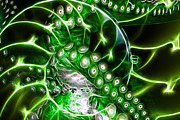 Creatures Of The Deep - Octopus Caught In The Swirl Of The Giant Nautilus - Electric - Green Print by Wingsdomain Art and Photography