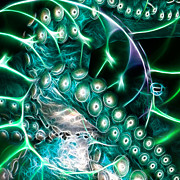 Nautilus Digital Art - Creatures of The Deep - Octopus Caught In The Swirl Of The Giant Nautilus - Electric - Square - Cyan by Wingsdomain Art and Photography