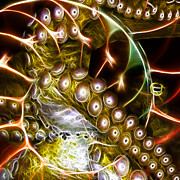 Nautilus Digital Art - Creatures of The Deep - Octopus Caught In The Swirl Of The Giant Nautilus - Electric - Square - Gold by Wingsdomain Art and Photography