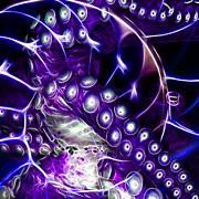 Creatures Of The Deep - Octopus Caught In The Swirl Of The Giant Nautilus - Electric - Square - Purp Print by Wingsdomain Art and Photography