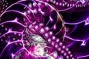 Nautilus Digital Art - Creatures of The Deep - Octopus Caught In The Swirl Of The Giant Nautilus - Electric - Violet by Wingsdomain Art and Photography