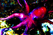 Octopus Prints - Creatures of The Deep - The Octopus - v3 - Electric - Red Print by Wingsdomain Art and Photography
