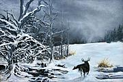 Winter Storm Painting Prints - Creatures of The Edge Print by Mike Savlen