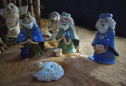 Nativity Ceramics Prints - Creche Kings Print by Nancy Griswold