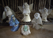 Christian Ceramics Posters - Creche Mary Joseph and Baby Jesus Poster by Nancy Griswold