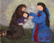 Needle Tapestries - Textiles Metal Prints - Creche Scene Metal Print by Nicole Besack