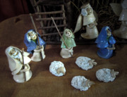 Religious Ceramics Metal Prints - Creche Shepards and Sheep Metal Print by Nancy Griswold