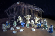 Religious Ceramics Metal Prints - Creche Top View  Metal Print by Nancy Griswold