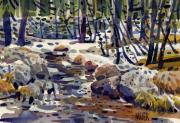 Yosemite Painting Framed Prints - Creek at Tuolume Meadows Framed Print by Donald Maier