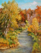 Oranges Painting Originals - Creek at Whitney Point II by Ethel Vrana