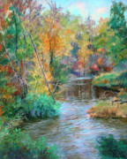 Finger Painting Prints - Creek at Whitney Point  NY Print by Ethel Vrana
