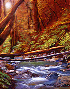 Best Choice Painting Framed Prints - Creek Crossing Framed Print by David Lloyd Glover