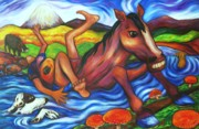 Dog Swimming Paintings - Creek Crossing Gone Wrong by Dianne  Connolly
