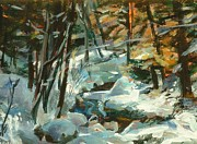 Snowy Brook Paintings - Creek in the Cold by Claire Gagnon