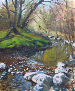 Lanscape Paintings - Creek in the Woods by Ylli Haruni