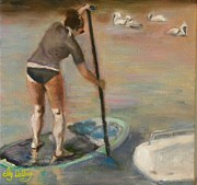 Woman In Water Painting Posters - Creek paddlin Poster by Liz Dettrey