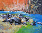 Waterscape Painting Metal Prints - Creekside Metal Print by Melody Cleary