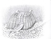 Creel And Fish Print by H C Denney