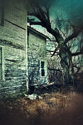 Clapboard House Prints - Creepy Abandoned House  Print by Jill Battaglia