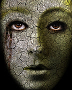 Ghastly Metal Prints - Creepy Cracked Face With Tears Metal Print by Jill Battaglia