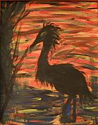 Abstracts Paintings - Creepy Crane by Leslie Revels Andrews