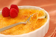 Brulee Posters - Creme Brulee with raspberries Poster by David Smith